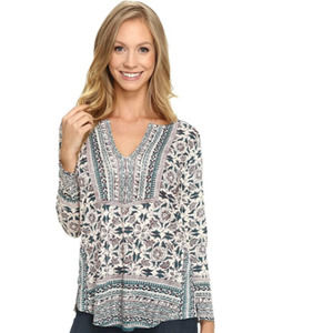 Lucky Brand 🤍 Woodblock Floral Long Sleeve Small